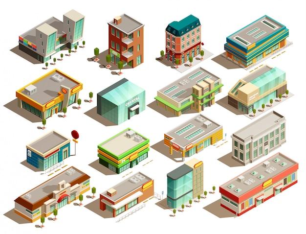 Conjunto de ícones isométrica de edifícios de loja Vetor grátis