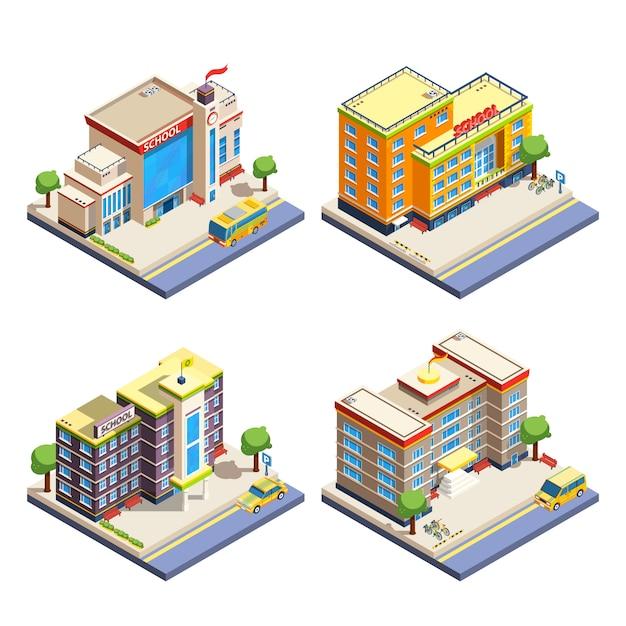 Conjunto de ícones isométrica de edifícios escolares Vetor grátis