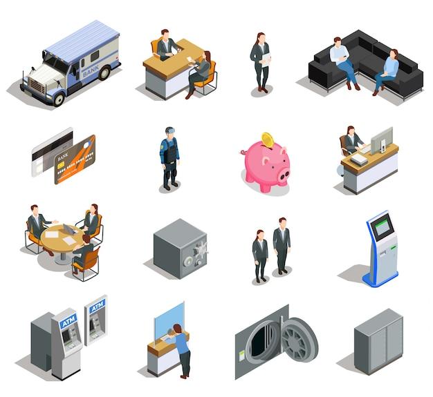 Conjunto de ícones isométrica de elementos do banco Vetor grátis