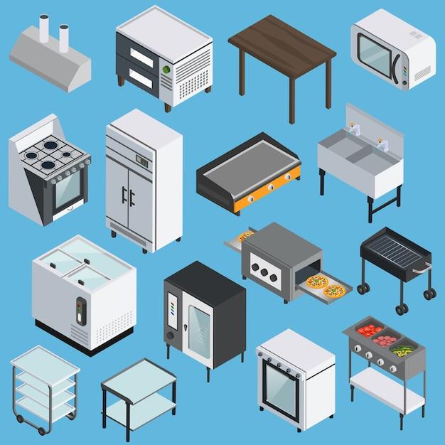 Conjunto de ícones isométrica de equipamento de cozinha Vetor grátis