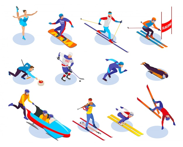 Conjunto de ícones isométrica de esportes de inverno de slalom snowboard curling freestyle patinação artística hóquei no gelo biatlo isométrica Vetor grátis