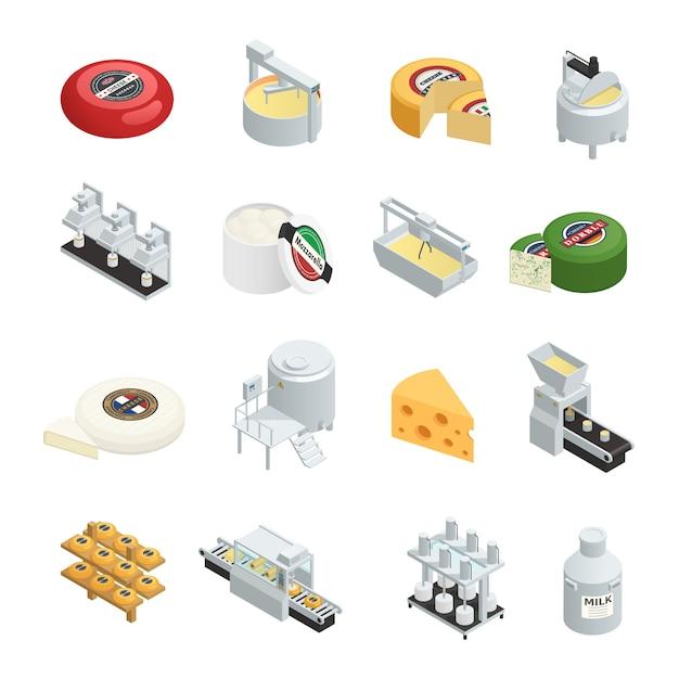 Conjunto de ícones isométrica de fábrica de produção de laticínios Vetor grátis