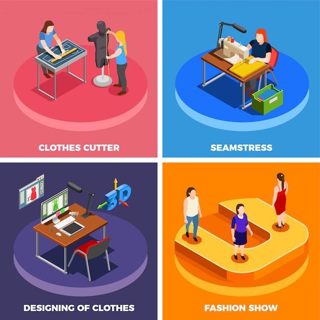 Conjunto de ícones isométrica de fábrica de roupas 4 Vetor grátis
