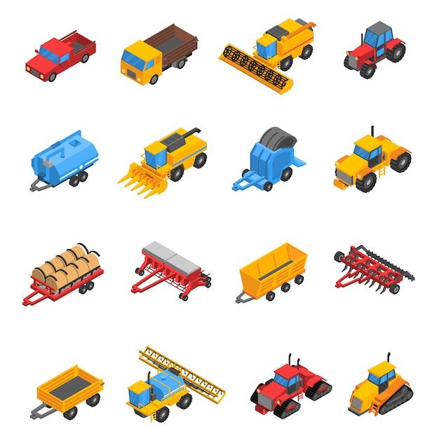 Conjunto de ícones isométrica de máquinas agrícolas Vetor grátis