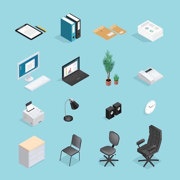 Conjunto de ícones isométrica de material de escritório Vetor grátis