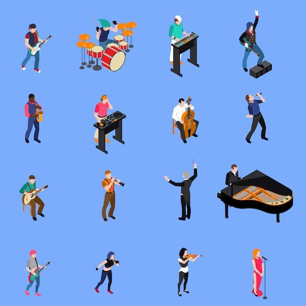 Conjunto de ícones isométrica de pessoas de músicos Vetor grátis