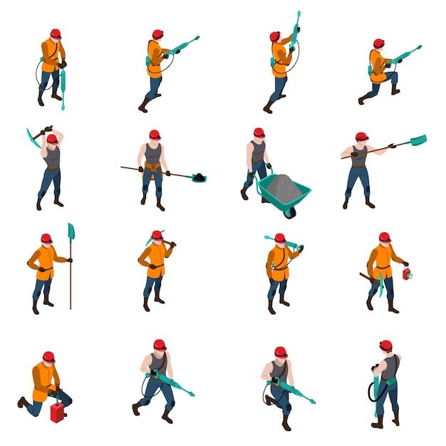Conjunto de ícones isométrica de pessoas mineiro Vetor grátis
