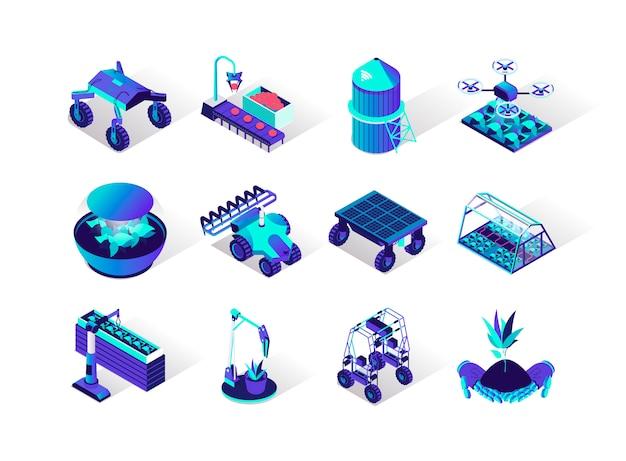 Conjunto de ícones isométrica de robotização de agricultura. Vetor Premium