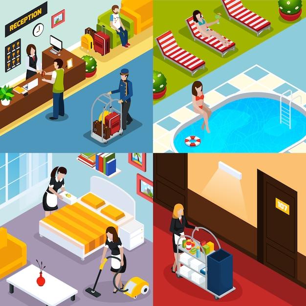 Conjunto de ícones isométrica de serviço de hotel Vetor grátis