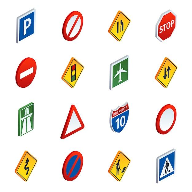 Conjunto de ícones isométrica de sinais de tráfego rodoviário Vetor grátis