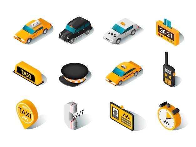 Conjunto de ícones isométrica de táxi Vetor grátis