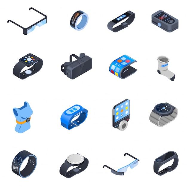 Conjunto de ícones isométrica de tecnologia wearable Vetor grátis