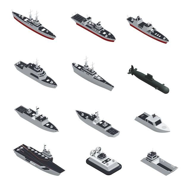 Conjunto de ícones isométrica isolado de barcos militares de cor escura Vetor grátis