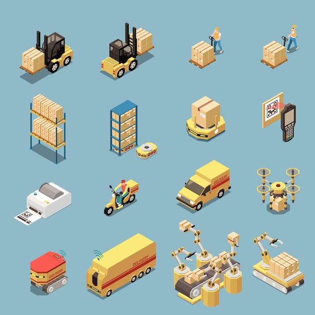 Conjunto de ícones isométricos com equipamentos de armazém e transporte para entrega de mercadorias isolado Vetor grátis