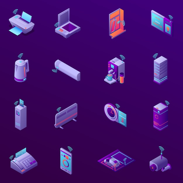Conjunto de ícones isométricos com tecnologia iot para ilustração em vetor escritório comercial isolado Vetor grátis