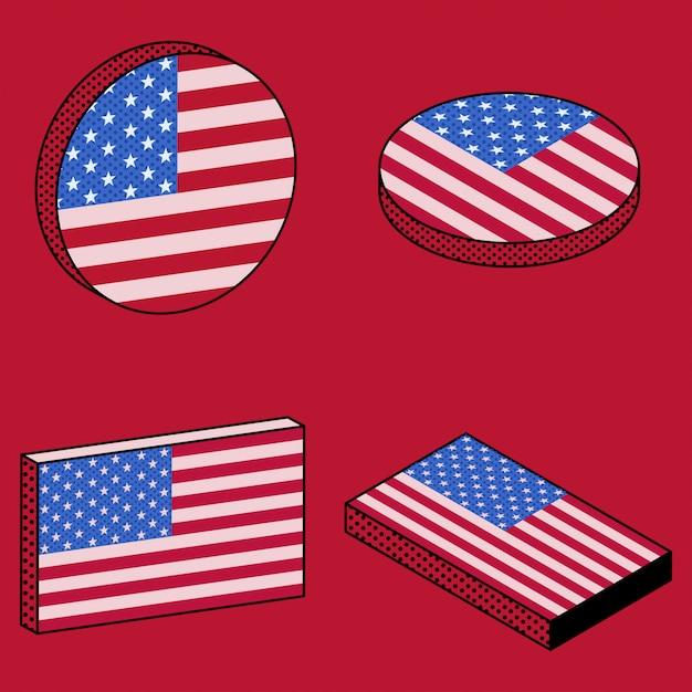 Conjunto de ícones isométricos da bandeira do eua em estilo retro Vetor Premium
