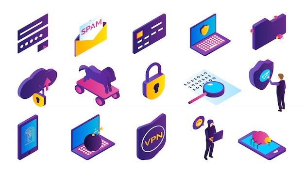 Conjunto de ícones isométricos de atividade de hacker com hacker roubar informações isoladas Vetor grátis