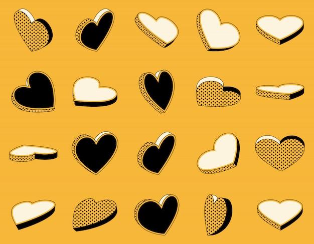 Conjunto de ícones isométricos de corações em estilo retro Vetor Premium