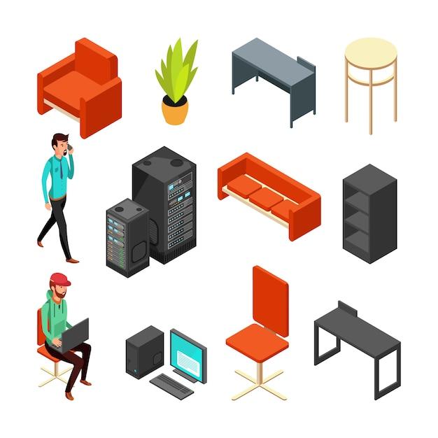 Conjunto de ícones isométricos de escritório. computadores, servidor, planta e equipe técnica. computador de ilustração vetorial plana para rede de internet Vetor Premium
