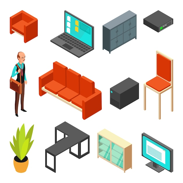 Conjunto de ícones isométricos de escritório Vetor Premium