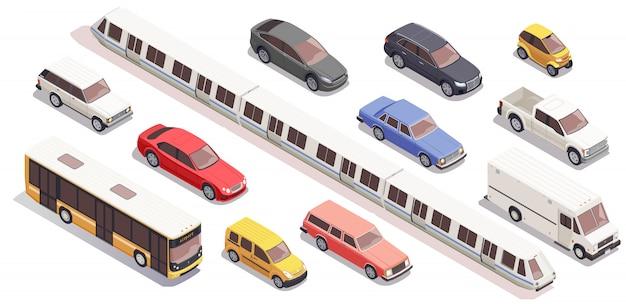 Conjunto de ícones isométricos de transporte com van de trem de carro de ônibus isolada no fundo branco 3d Vetor grátis