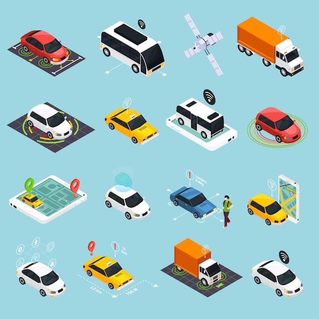 Conjunto de ícones isométricos de veículo autônomo Vetor grátis