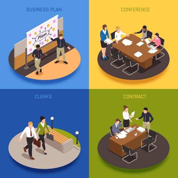 Conjunto de ícones isométricos do conceito de pessoas de negócios com contratos e ilustração isolada de símbolos de conferência Vetor grátis