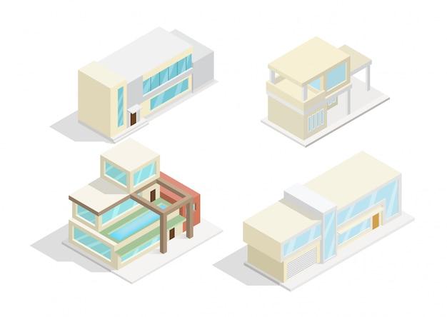 Conjunto de ícones isométricos ou elementos de infográfico representando casas modernas Vetor Premium