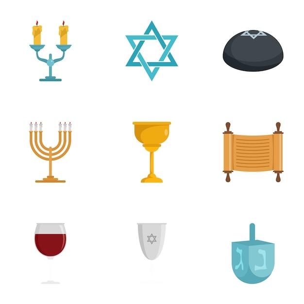 Conjunto de ícones judaica. conjunto plano de 9 judeus Vetor Premium