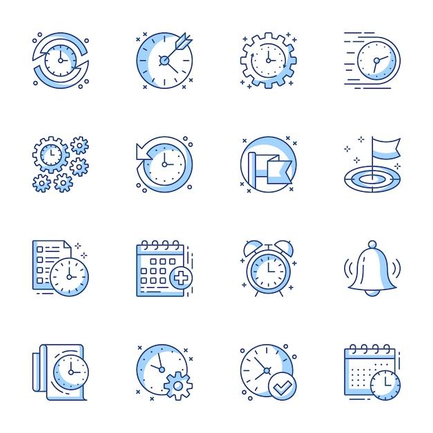 Conjunto de ícones linear de gerenciamento de tempo e projeto. Vetor Premium