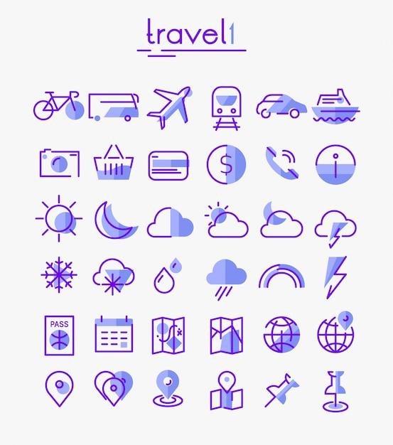 Conjunto de ícones linear de viagens, turismo e clima Vetor Premium