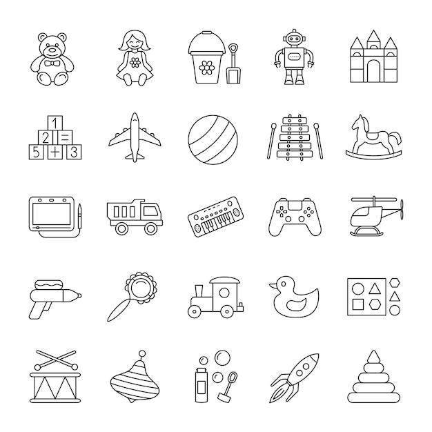 Conjunto de ícones lineares de brinquedos de crianças Vetor Premium