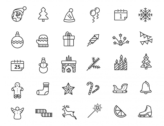Conjunto de ícones lineares de natal. ano novo ícones no design simples. Vetor Premium