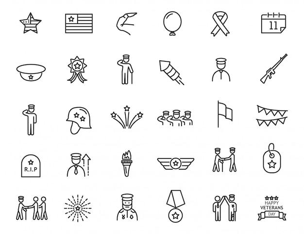 Conjunto de ícones lineares do dia dos veteranos. ícones militares em design simples. Vetor Premium