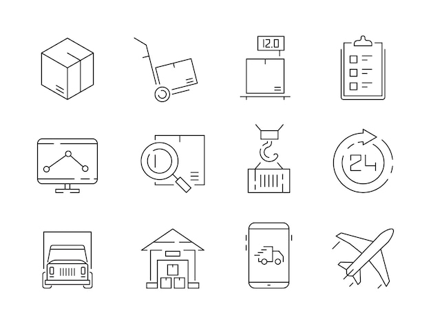 Conjunto de ícones logísticos. recipientes de caixas de entrega de armazém e transporte guindaste navio símbolos de linha fina de vetor Vetor Premium