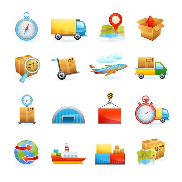 Conjunto de ícones logísticos Vetor grátis