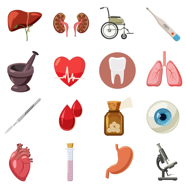 Conjunto de ícones médicos, estilo cartoon Vetor Premium