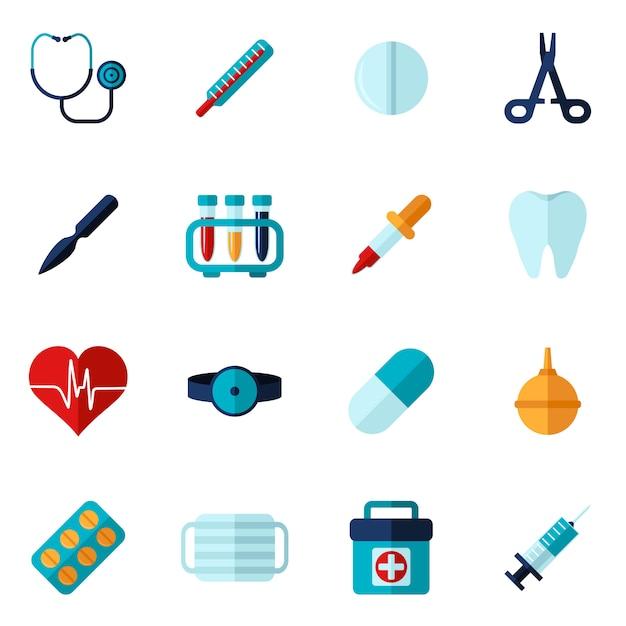 Conjunto de ícones médicos plana Vetor grátis