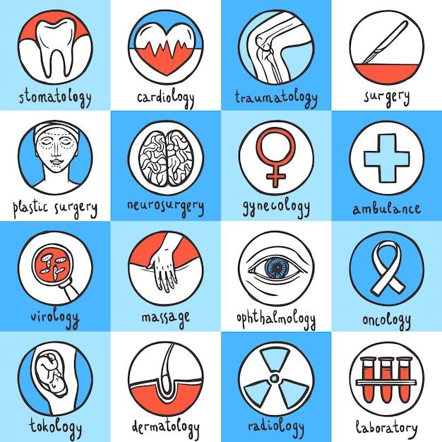 Conjunto de ícones médicos Vetor Premium