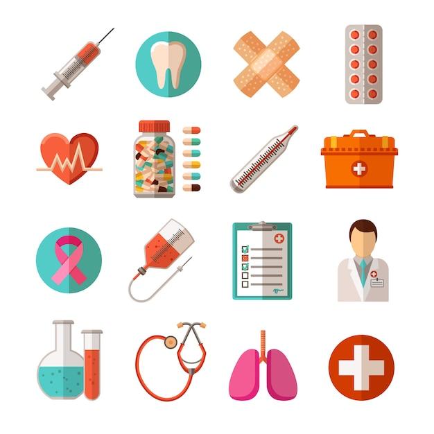 Conjunto de ícones médicos Vetor grátis