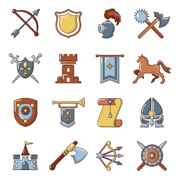 Conjunto de ícones medievais de cavaleiro Vetor Premium