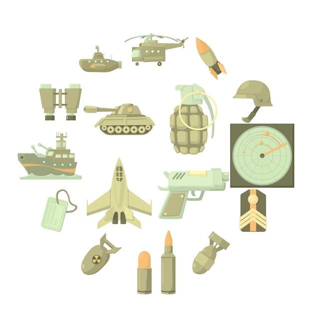 Conjunto de ícones militares, estilo cartoon Vetor Premium