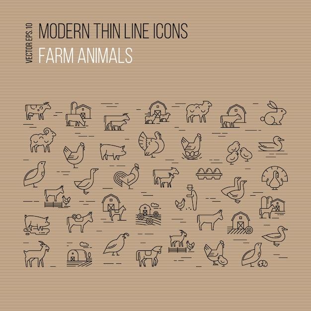 Conjunto de ícones modernos de linha fina de animais de fazenda isolados Vetor Premium