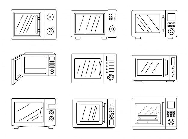 Conjunto de ícones modernos de microondas Vetor Premium