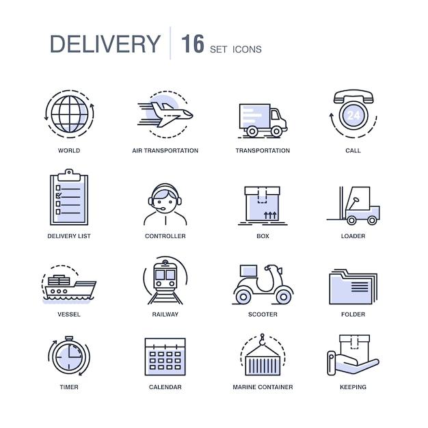Conjunto de ícones monocromáticos modernos serviços de entrega rápida Vetor Premium