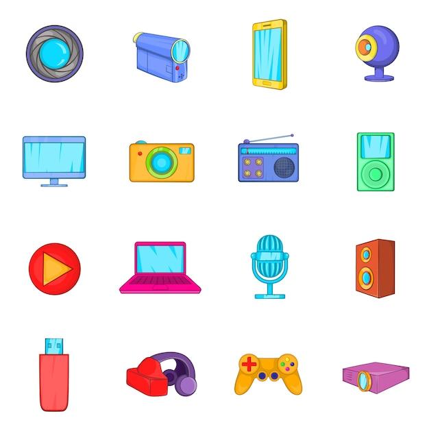 Conjunto de ícones multimídia Vetor Premium