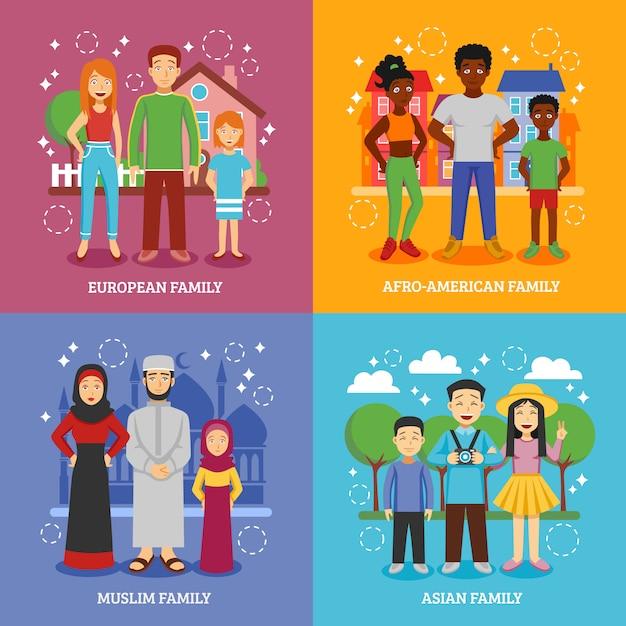Conjunto de ícones nacionais de famílias Vetor grátis