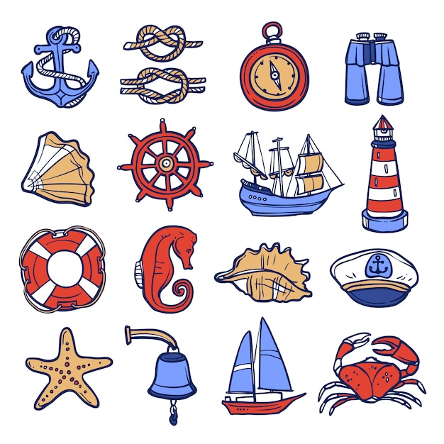 Conjunto de ícones náutico Vetor grátis