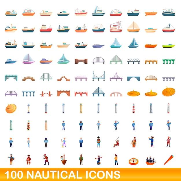 Conjunto de ícones náuticos. ilustração dos desenhos animados de ícones náuticos em fundo branco Vetor Premium