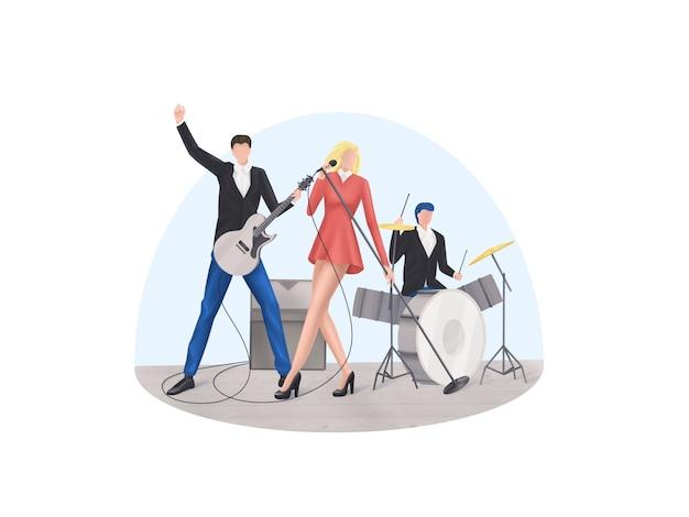 Conjunto de ícones no tema da banda de rock no estilo pixel art, ilustração vetorial Vetor Premium